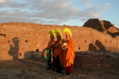 Tibetan Monks from the Drepung Monastery  do prayers for World Peace at Chaco Canyon, the ancestoral home of the Pueblo Indians that was built in the llth century.