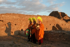 Tibetan Monks from the Drepung Loseling  Monastery  offer prayers for World Peace at Chaco Canyon, the ancestral home of the Pueblo Indians that was built in the 11th century.