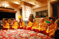 At midnight, New Year's Eve, following the sandmandala dismantling ceremony, the monks lead a meditation for the New Year.