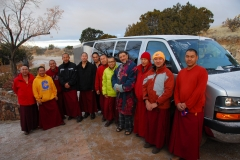 A farewell photo with host Ira Seret as the monks depart Santa Fe to continue their tour.