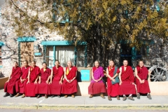 Tibetan Monks of Drepung Loseling Monastery (Mystical Arts of Tibet tour) offer blessing prayers for Inn of The Five Graces, it's staff and many guests, With managing partner Sharif Seret.