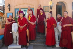 Tibetan Monks of Drepung Loseling Monastery (Mystical Arts of Tibet tour) offer blessing prayers for Inn of The Five Graces, it's staff and many guests. With managing partner Sharif Seret.