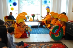 Tibetan monks of Mystical Arts of Tibet tour offer a house blessing puja (prayer ceremony), Santa Fe,  NM.