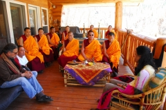 Tibetan monks of Mystical Arts of Tibet tour offer a house and land blessing ceremony, Gallinas,  NM.
