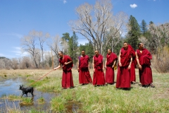 Gallinas River, NM.  Blessing the land.  Mystical Arts of Tibet tour group. April, 2013