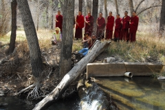 Gallinas River, NM.  Blessing the land.  Mystical Arts of Tibet tour group.April 2013