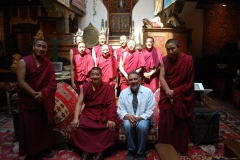 Blessing shop and staff at Seret and Sons, Santa Fe, NM (Mystical Arts of Tibet tour group with Ira Seret.