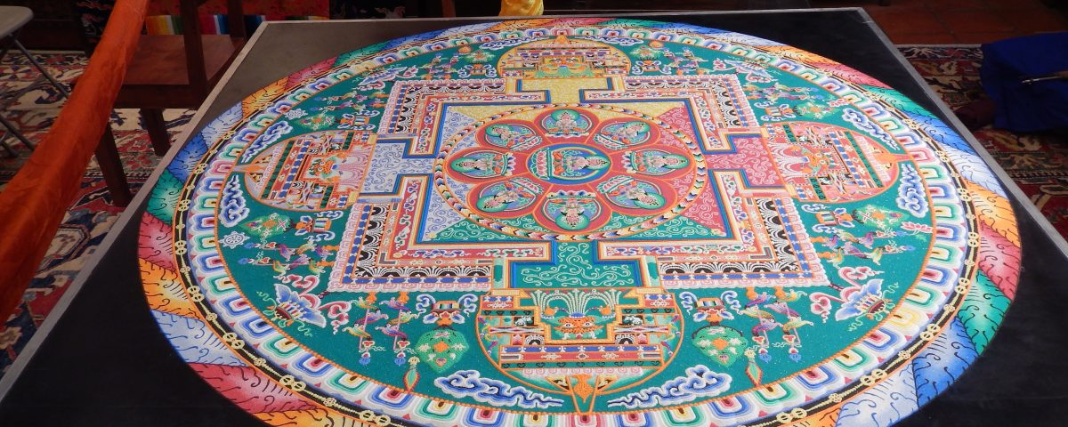 A completed Sand Mandala made by the monks of the Drepung Loseling Monastery on display at Seret & Sons Gallery