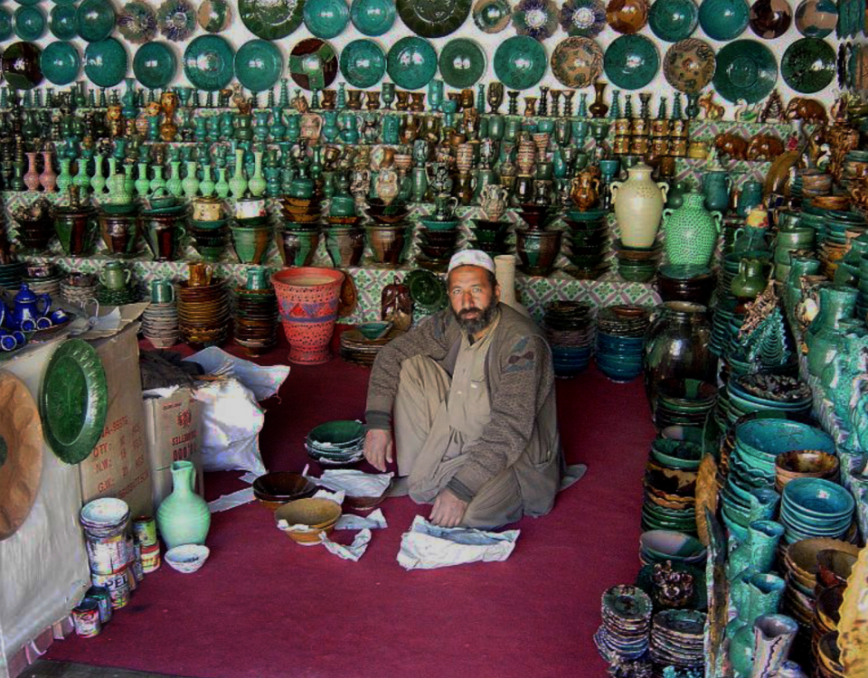 Malik Mohammad was a potter in Istalif before it was destroyed by the Taliban. Now he has returned to making the region's distinctive green and turquoise pottery.