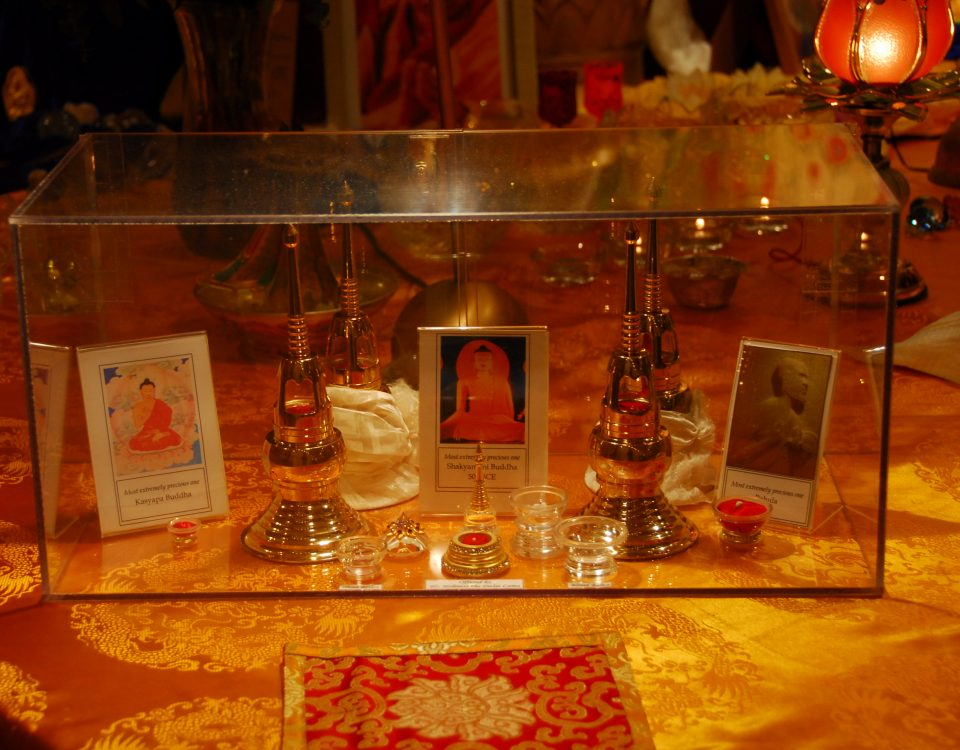 A display showing some of the sacred relic available for viewing at Seret & Sons during the Heart Shrine Relic Tour.