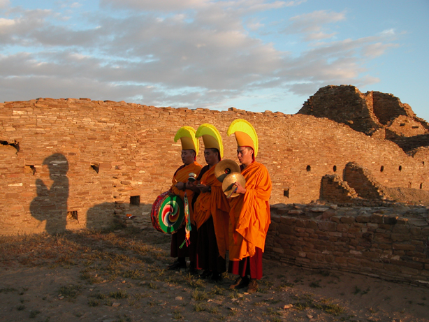 Tibetan Monks from the Drepung Loseling Monastery preform a prayer ceremony for World Peace at Chaco Canyon, the ancestoral home of the Pueblo Indians, built in the 11th century.