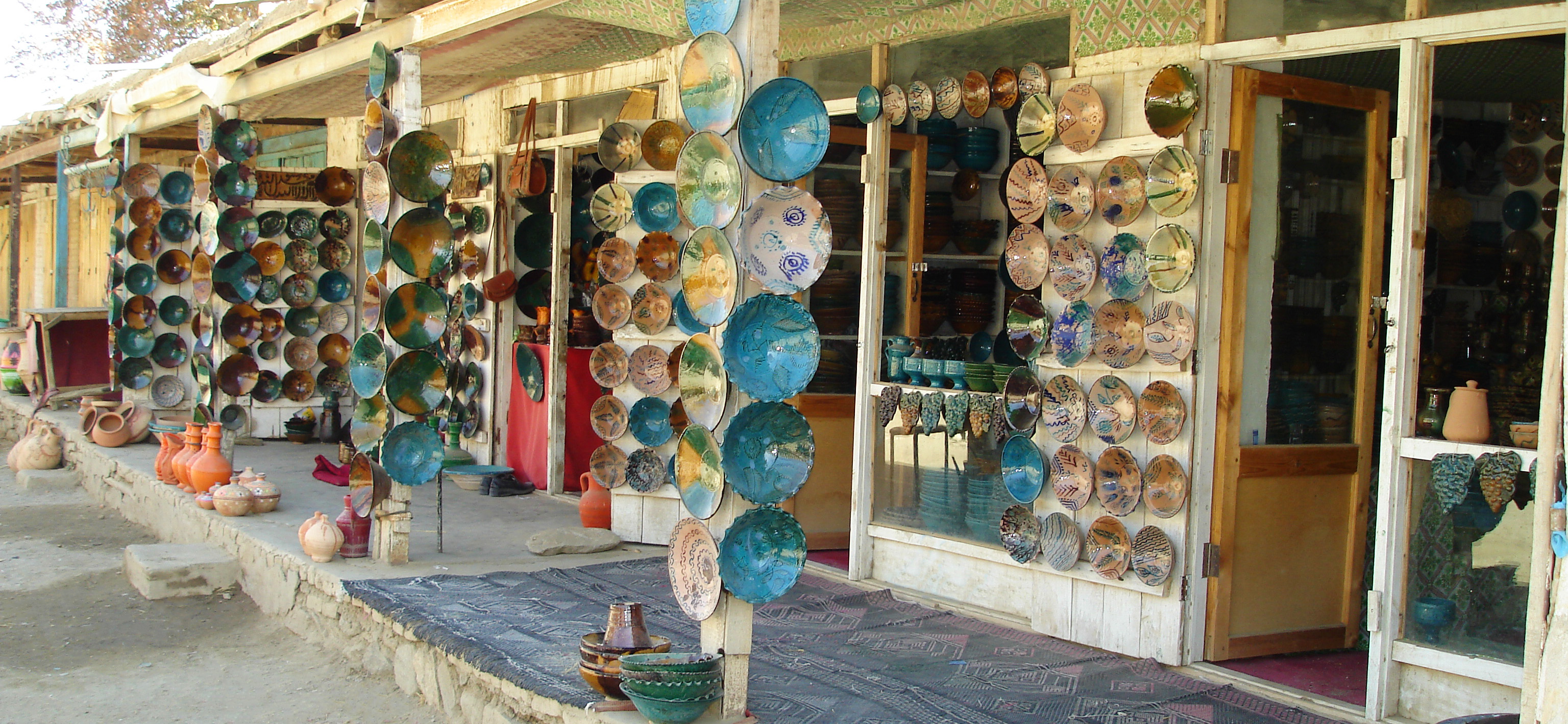 Istalif pottery on display in Istalif, Afghanistan