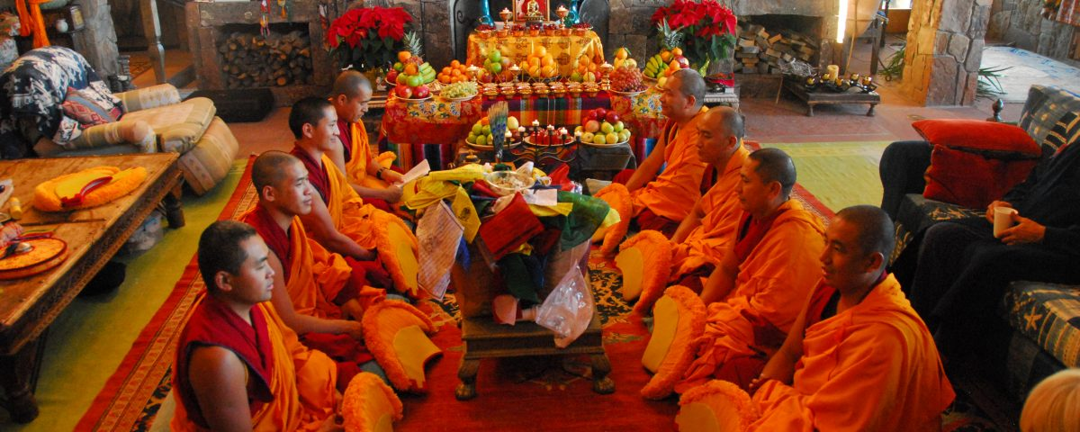 The monks of the Drepung Loseling Monastery preforming a house blessing ceremony in Santa Fe, NM.