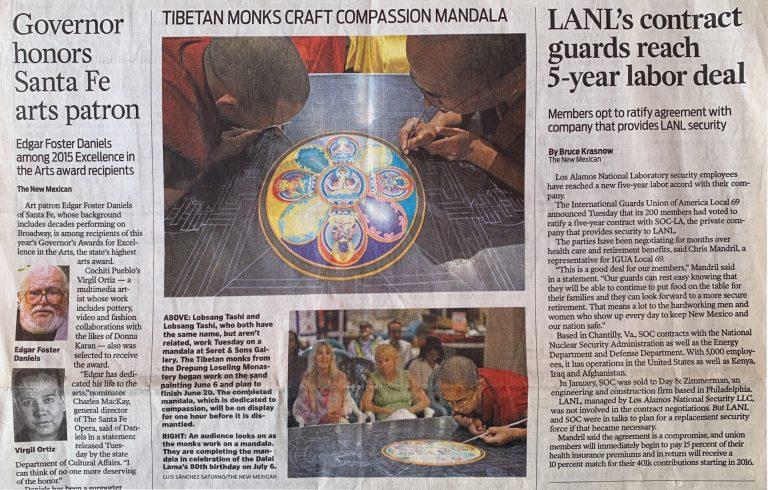 The Santa Fe New Mexican - 2015 - Tibetan Monks Craft Compassion Mandala