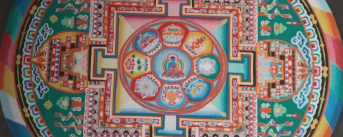 Sand Mandala made by the Monks of the Drepung Loseling Monastery on the Mystical Arts of Tibet Tour. Santa Fe, NM